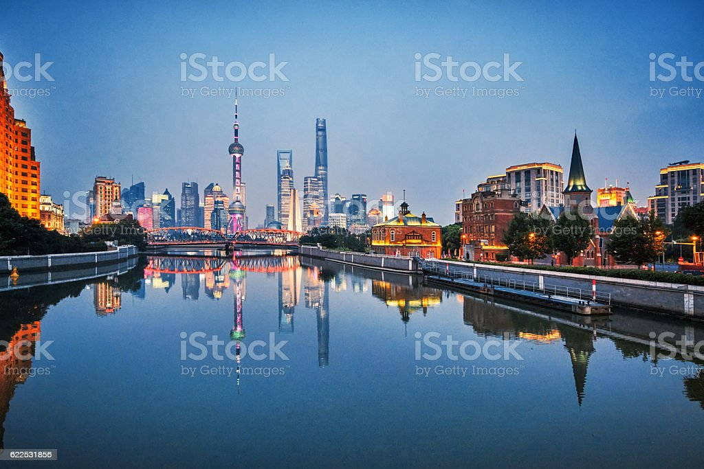 skyline of Shanghai stock photo
