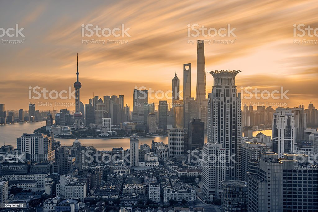 Skyline of Shanghai Pudong at sunrise, China stock photo