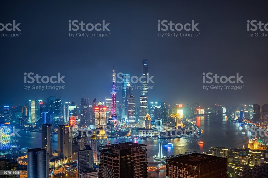 skyline of Shanghai,China stock photo