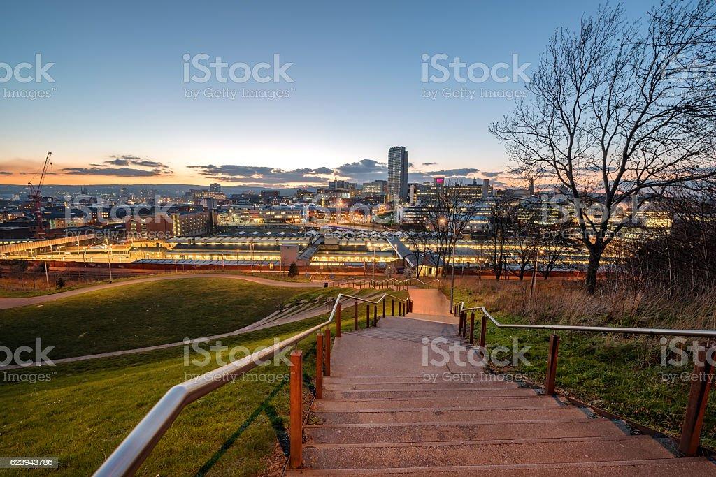 Skyline of Sheffield city centre, South Yorkshire, England UK stock photo