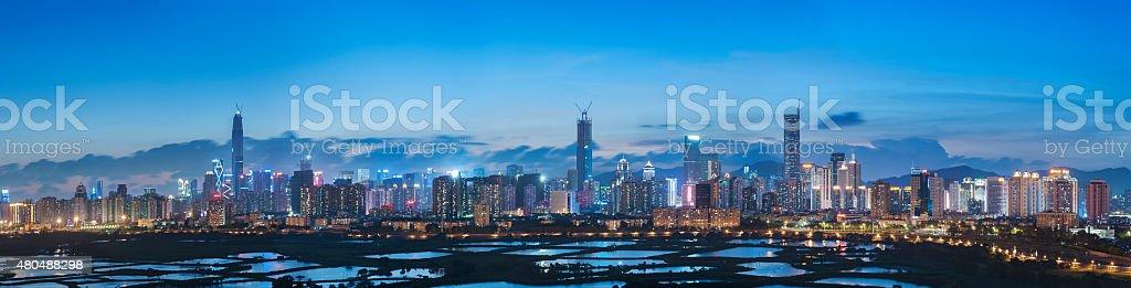 Skyline of Shenzhen City, China stock photo
