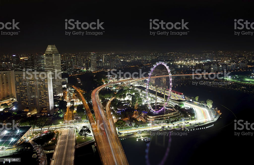 Skyline of Singapore with view on the F1 race track royalty-free stock photo