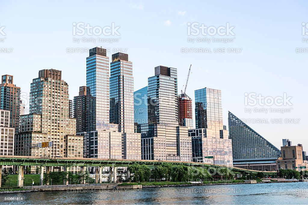 Skyline of skyscrapers and FDR highway in Riverfront park NYC stock photo