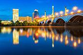 Skyline of Springfield Massachusetts at Night