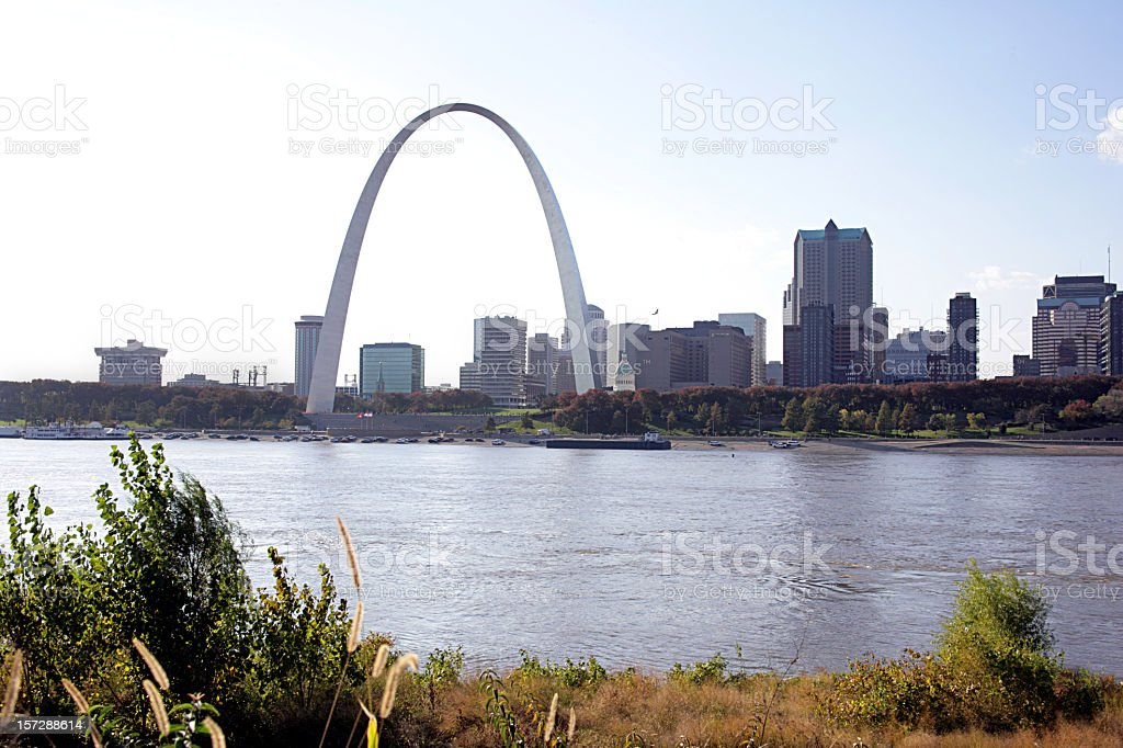 Skyline of St Louis by a river stock photo