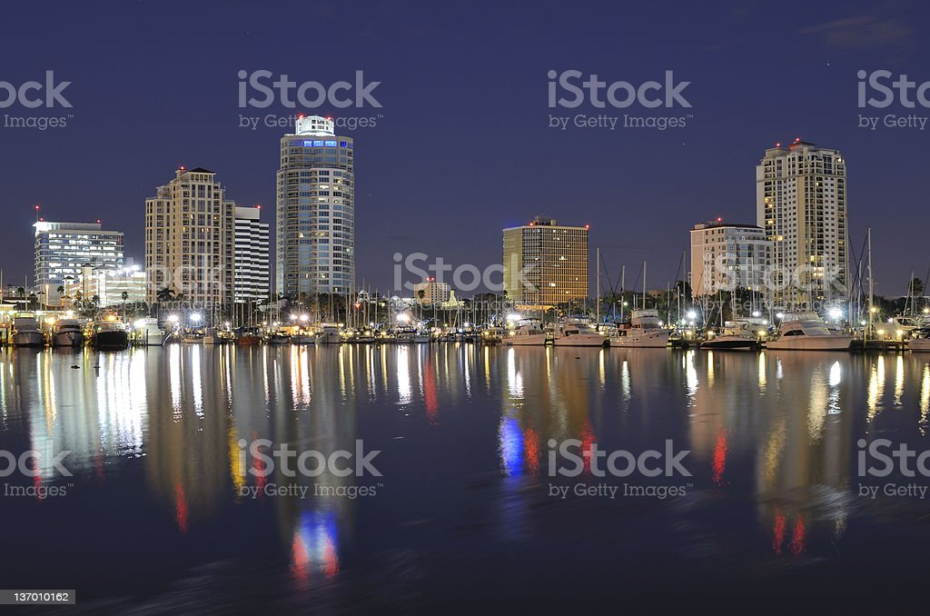 A skyline of St Petersburg in Florida at night stock photo