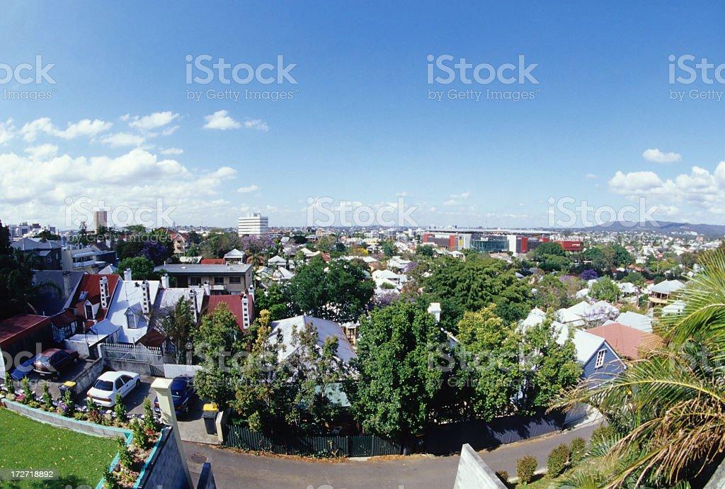 Skyline of suburban city during daytime stock photo