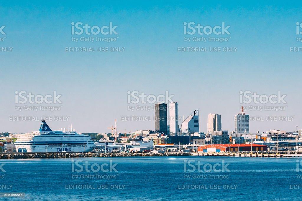 Skyline Of Tallinn And Harbour, Coast, Port. stock photo