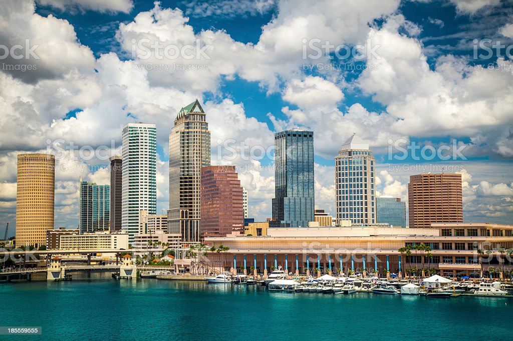 Skyline of Tampa Florida by the sea stock photo