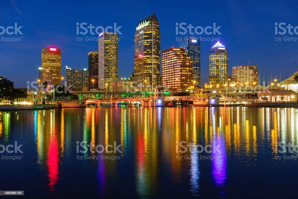 Skyline of Tampa Florida with Colorful Reflections at Night stock photo