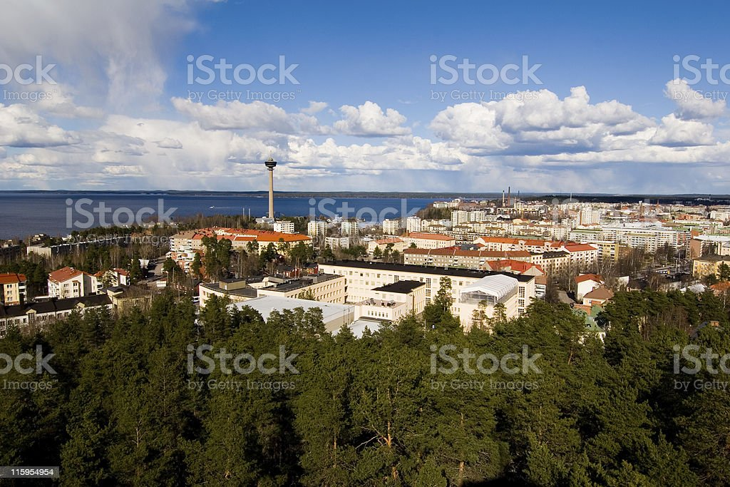 Skyline of Tampere in Finland stock photo