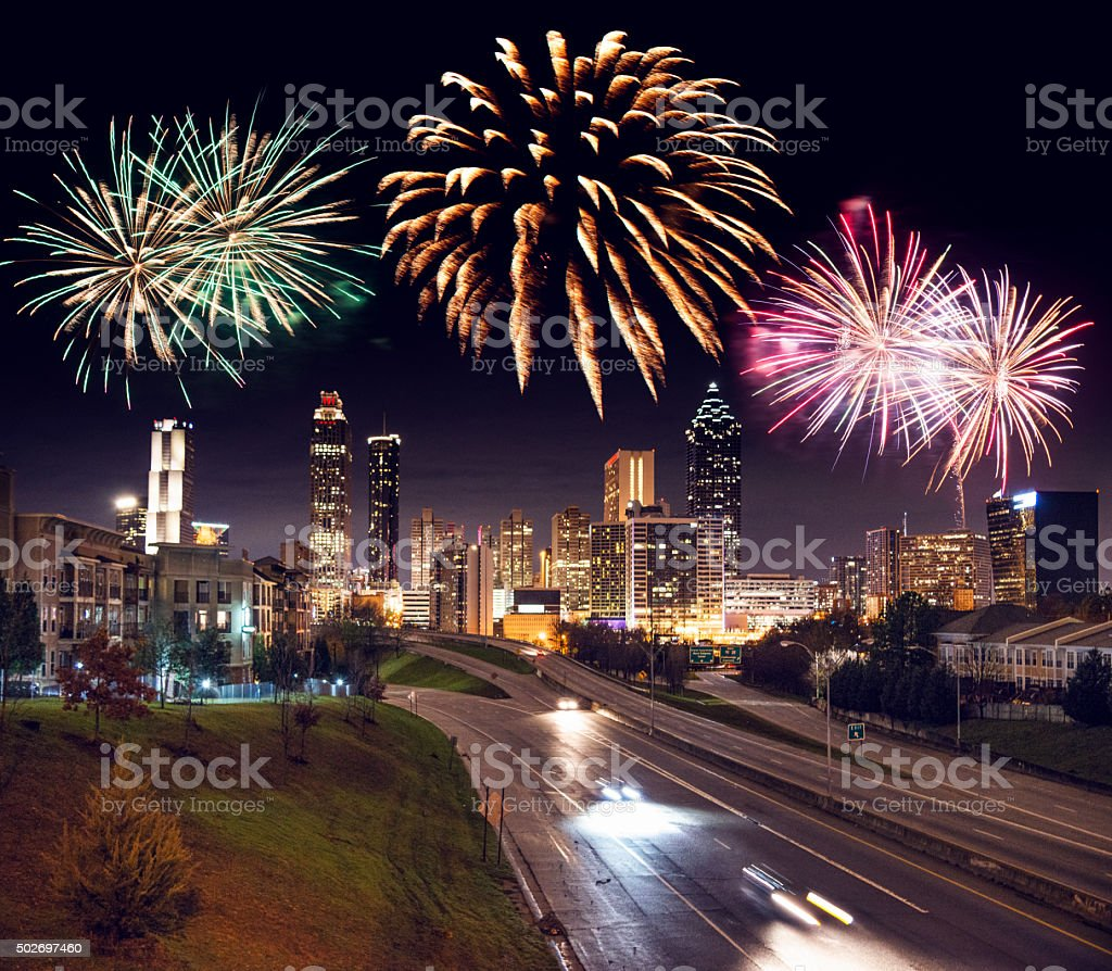 Skyline of the Atlanta with firework for the new year stock photo