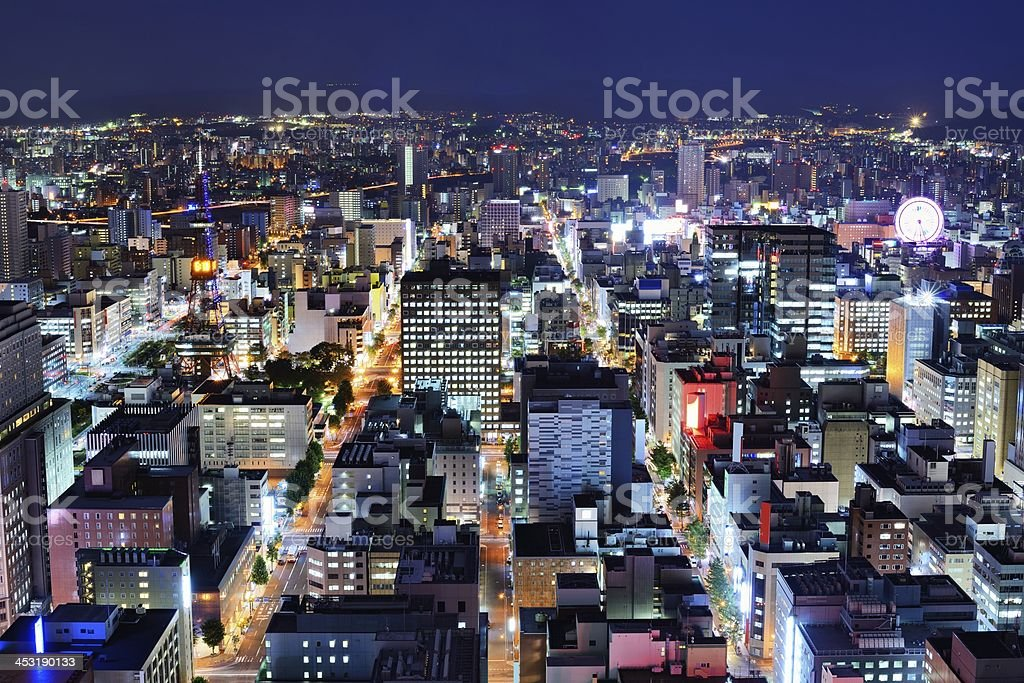 Skyline of the central ward of Sapporo, Japan stock photo