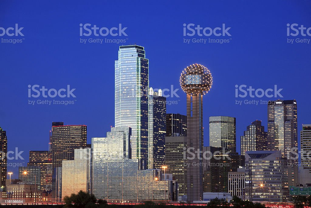 Skyline of the city of Dallas, Texas during summer evening royalty-free stock photo