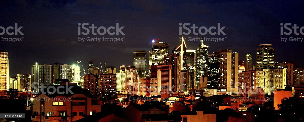Skyline of the Manila by night royalty-free stock photo