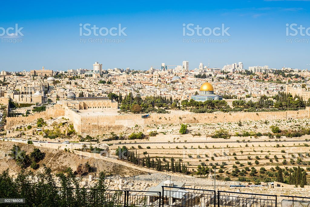 Skyline of the Old City at Temple Mount in Jerusalem stock photo
