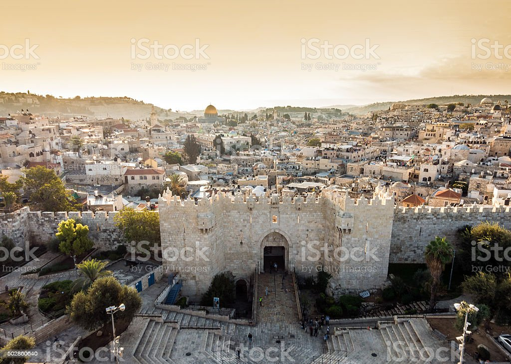 Skyline of the Old City in Jerusalem from north, Israel. stock photo
