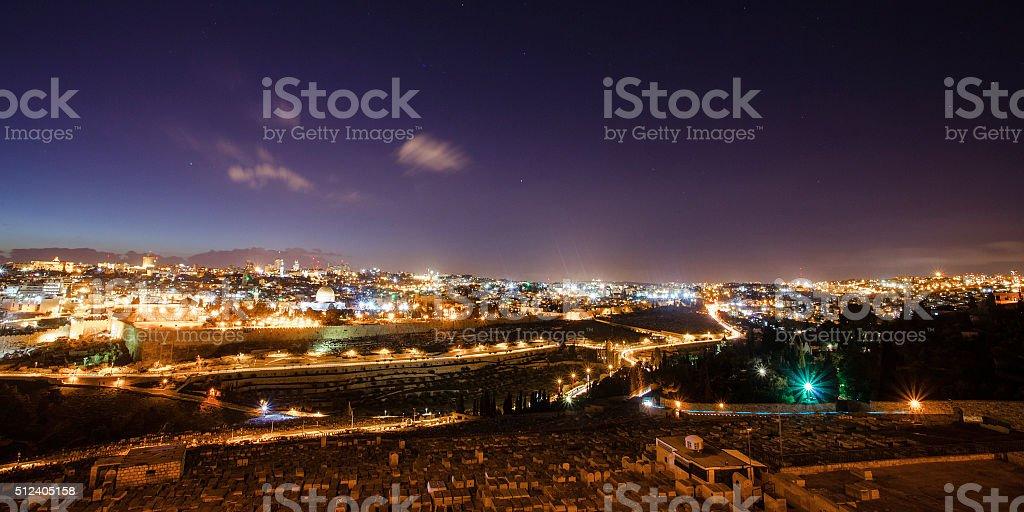 Skyline of the old city of Jerusalem, Israel. stock photo