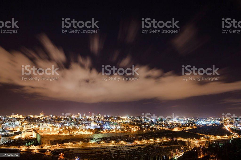 Skyline of the old city of Jerusalem stock photo