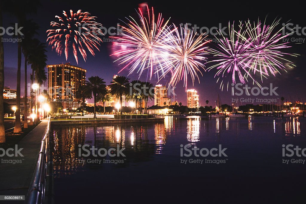Skyline of the st. petersburg with firework stock photo