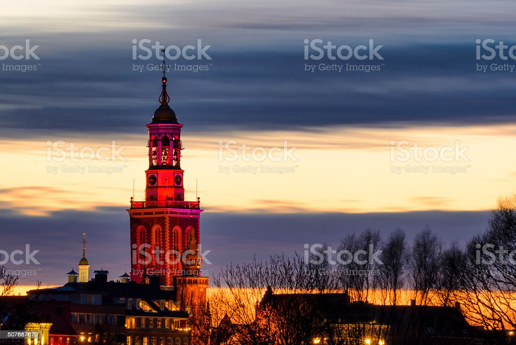 Skyline of the town of Kampen with the New Tower stock photo