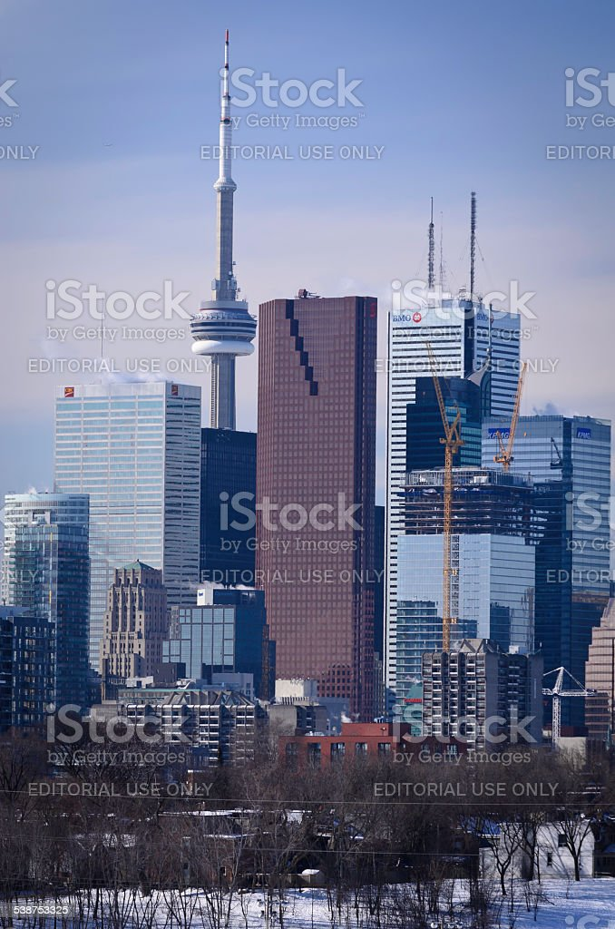 Skyline of Toronto showing the CN Tower royalty-free stock photo