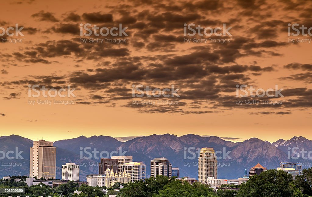 Skyline of Utah city with clouds stock photo