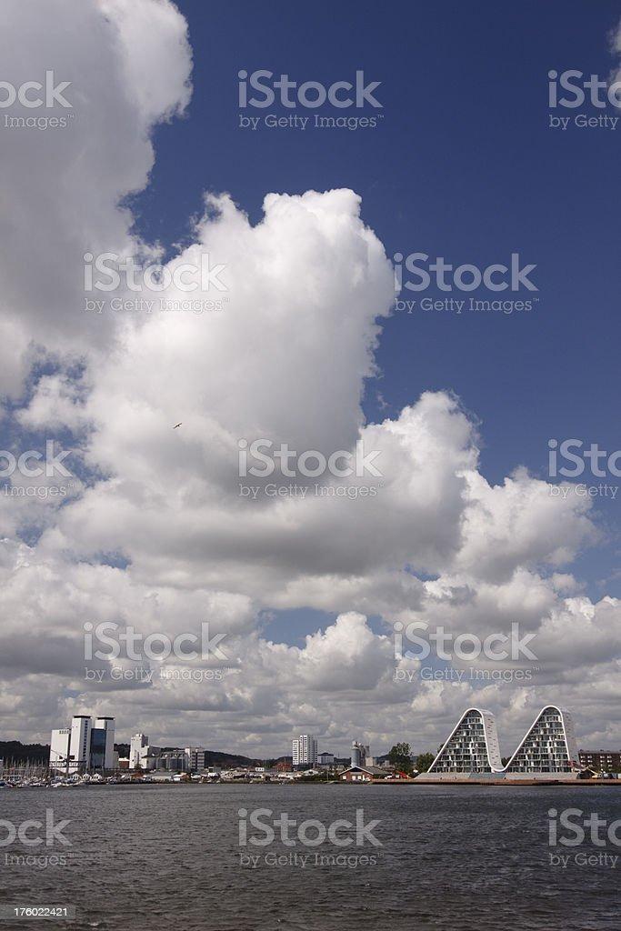 Skyline of Vejle stock photo