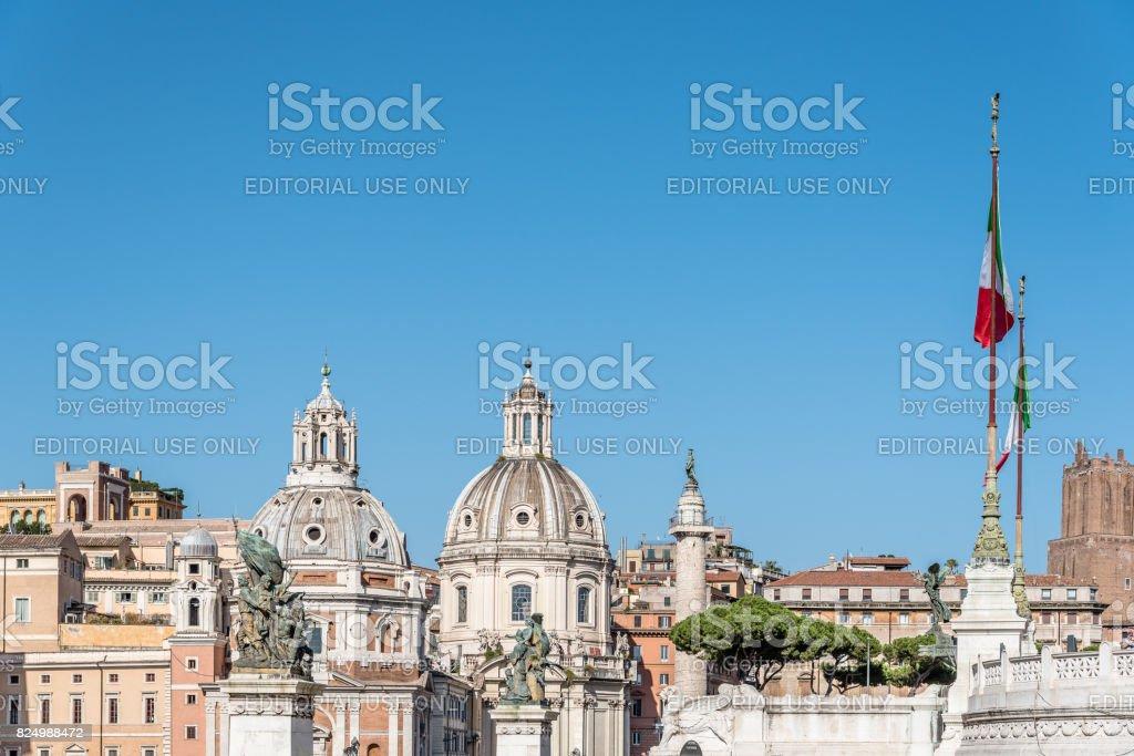 Skyline of Venezia square in Rome stock photo