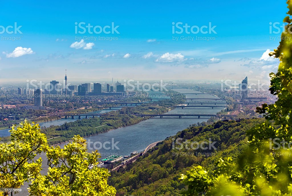 Skyline of Vienna and Danube stock photo