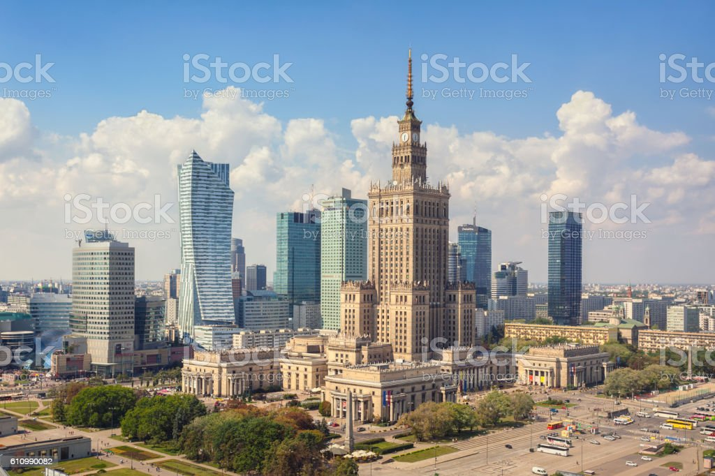 Skyline of Warsaw, Poland stock photo
