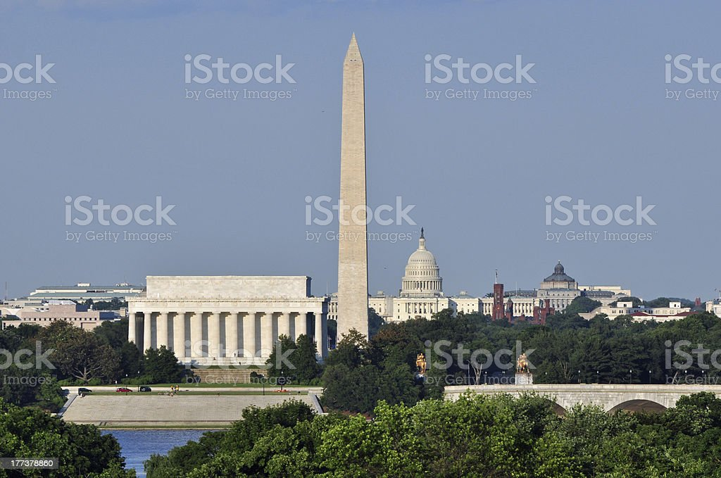 Skyline of Washington, DC and Lincoln Memorial stock photo