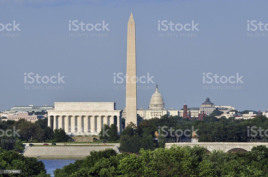 Skyline of Washington, DC and Lincoln Memorial stock photo