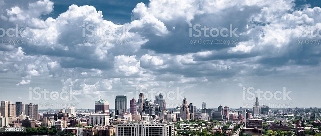 skyline on the queens in nyc stock photo