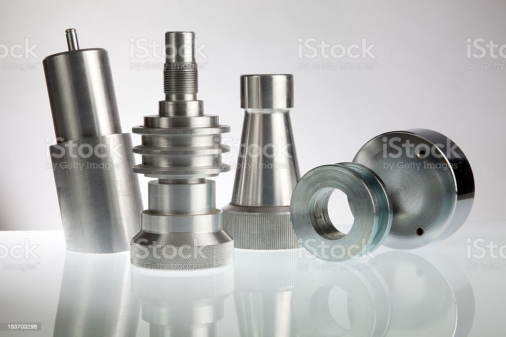 Skyline out of metallic pieces stock photo