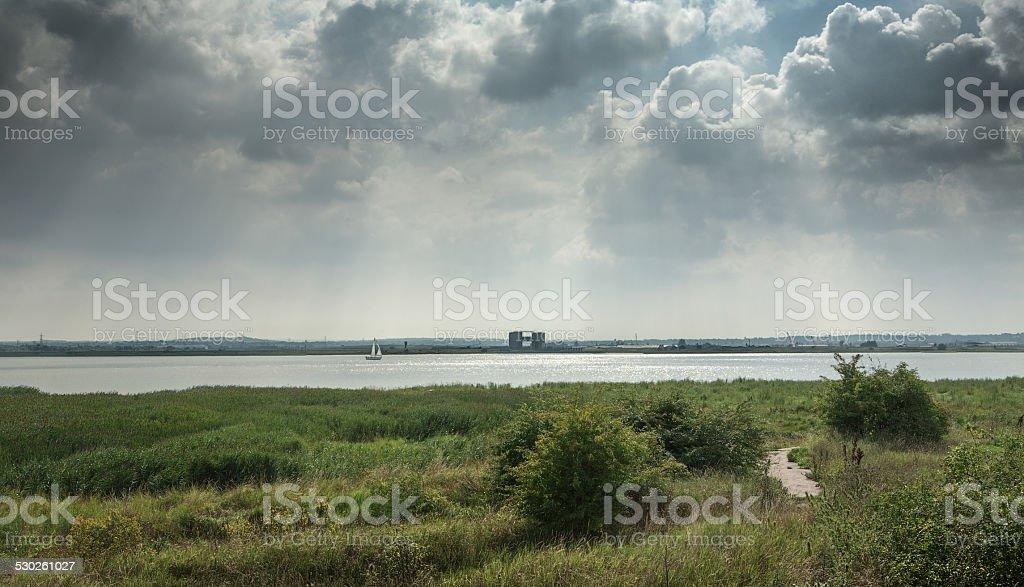Skyline over the river Thames alongside Purfleet, Grays, Essex stock photo