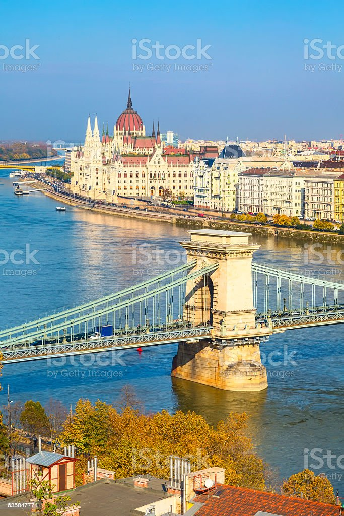 skyline panorama of Budapest, Hungary with Danube, chain bridge, ships stock photo
