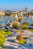 skyline panorama of Budapest, Hungary with Danube, chain bridge, ships