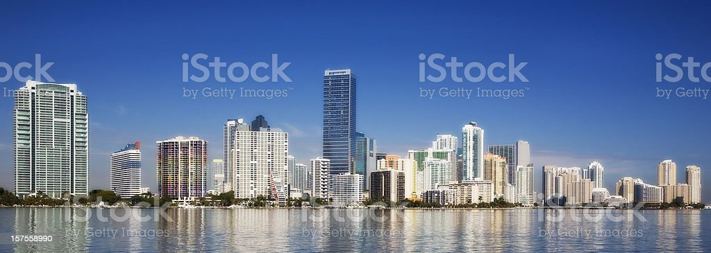 Skyline panorama of downtown Miami stock photo