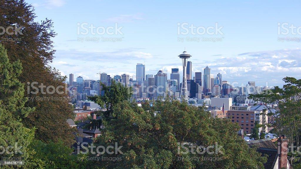 SEATTLE, WASHINGOTN - SEPTEMBER 2014: Skyline panorama view stock photo