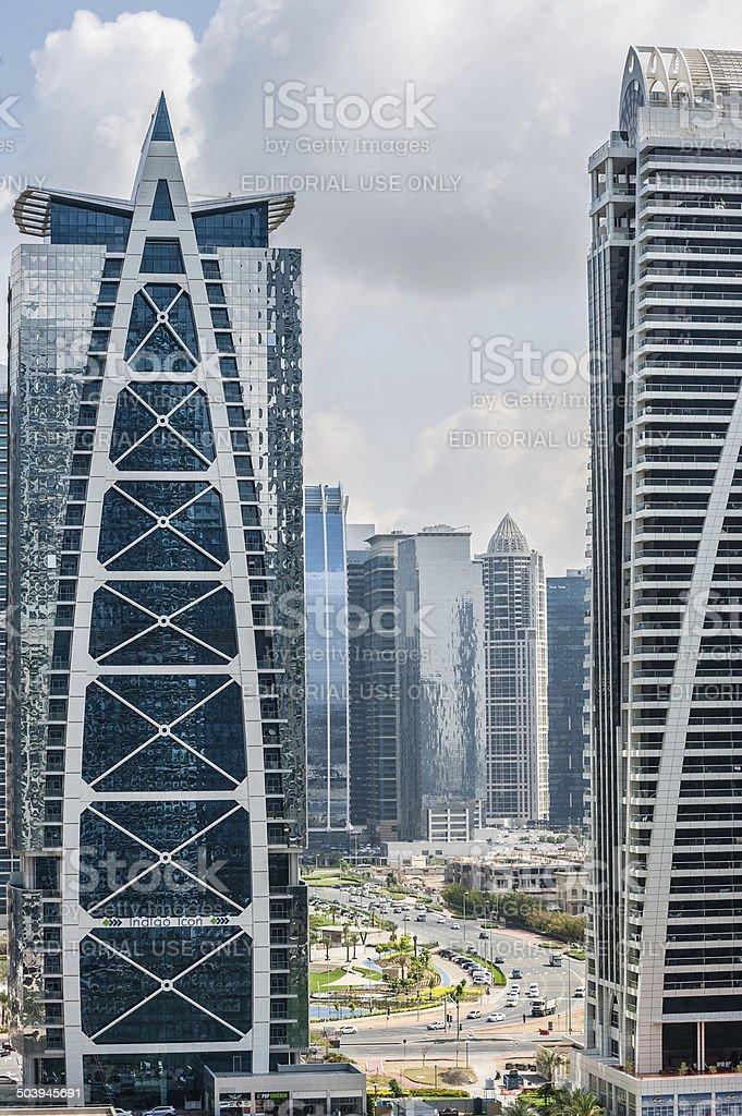 Skyline panoramic view from Dubai. stock photo