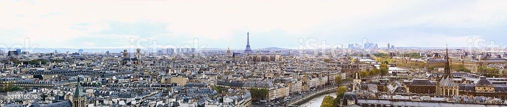 Skyline Paris France and The Eiffel Tower (20000x4221px horizontal panoramic) stock photo