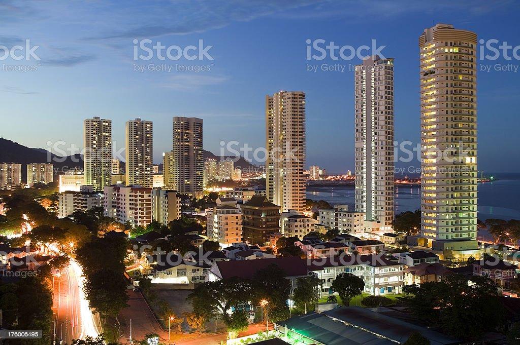 skyline penang island georgetown malaysia dusk city stock photo