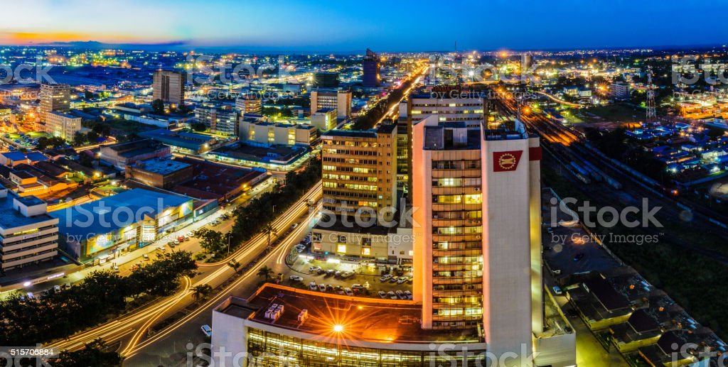 Skyline photo of Lusaka city at night stock photo