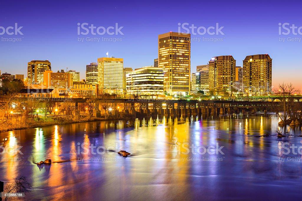 Skyline photo of Richmond, Virginia at night stock photo