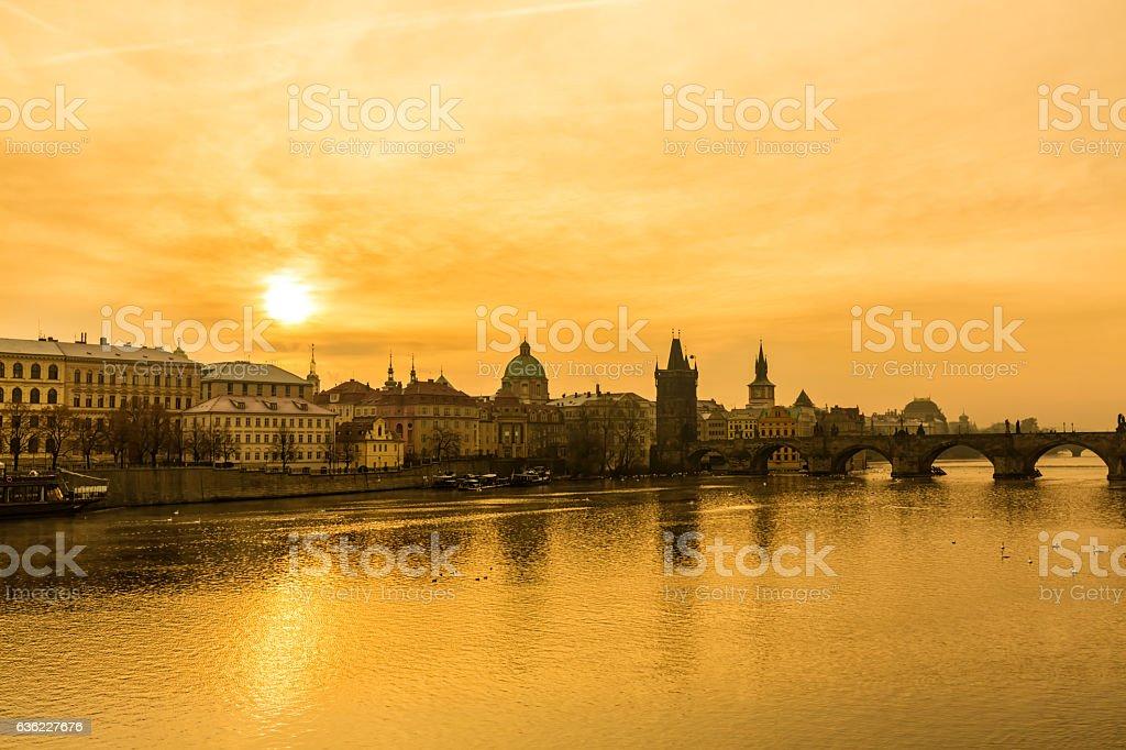 Skyline Prague with Charles Bridge stock photo