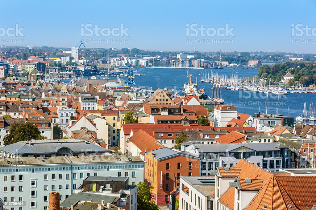 Skyline Rostock stock photo