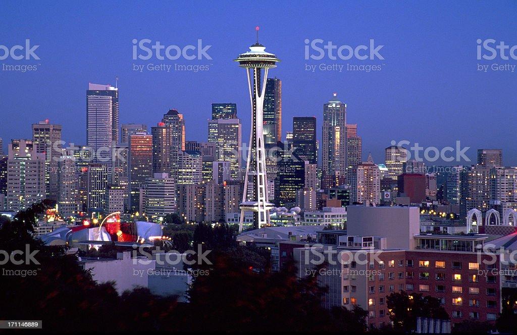 Skyline Seattle at night royalty-free stock photo