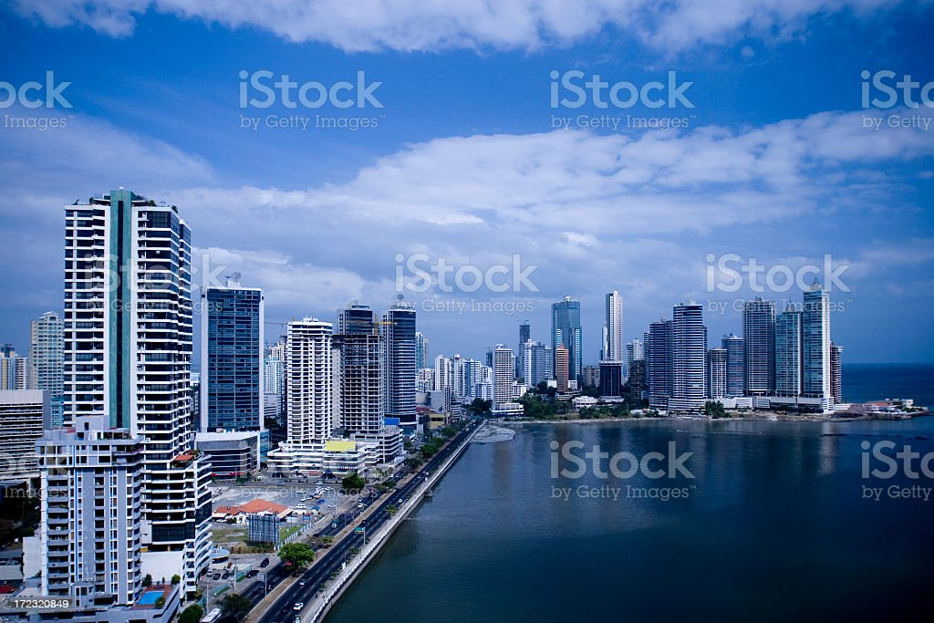 Skyline shot of a large city by the ocean stock photo
