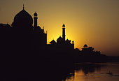Skyline silhouette of Taj Mahal, Agra, India at the sunset